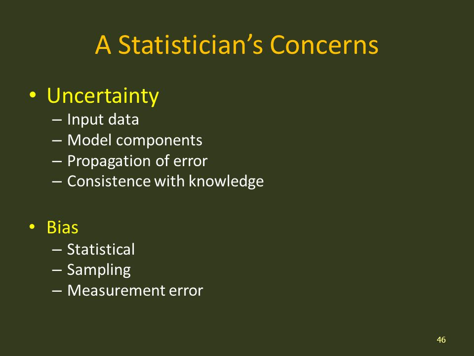 A Statisticians Concerns Uncertainty – Input data – Model components – Propagation of error – Consistence with knowledge Bias – Statistical – Sampling – Measurement error 46