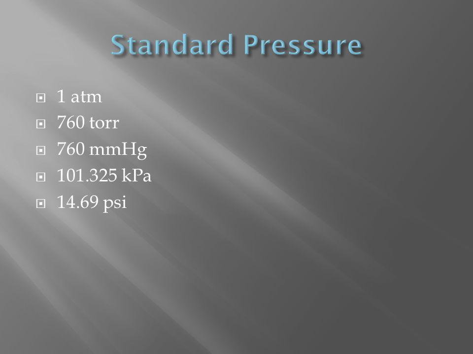 1 atm 760 torr 760 mmHg 101.325 kPa 14.69 psi