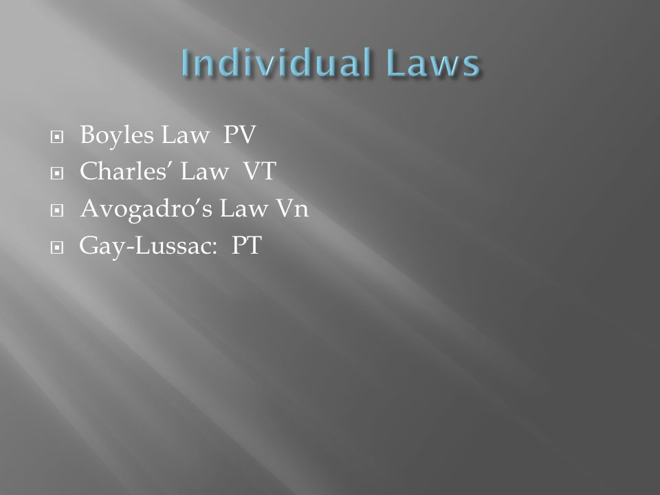 Boyles Law PV Charles Law VT Avogadros Law Vn Gay-Lussac: PT