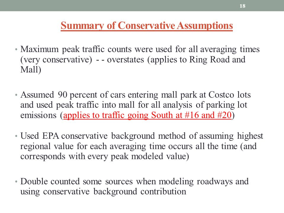 Summary of Conservative Assumptions Maximum peak traffic counts were used for all averaging times (very conservative) - - overstates (applies to Ring