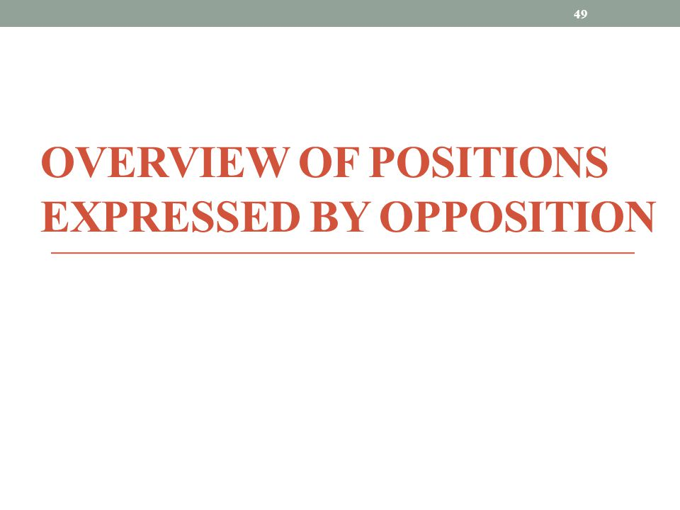 OVERVIEW OF POSITIONS EXPRESSED BY OPPOSITION 49