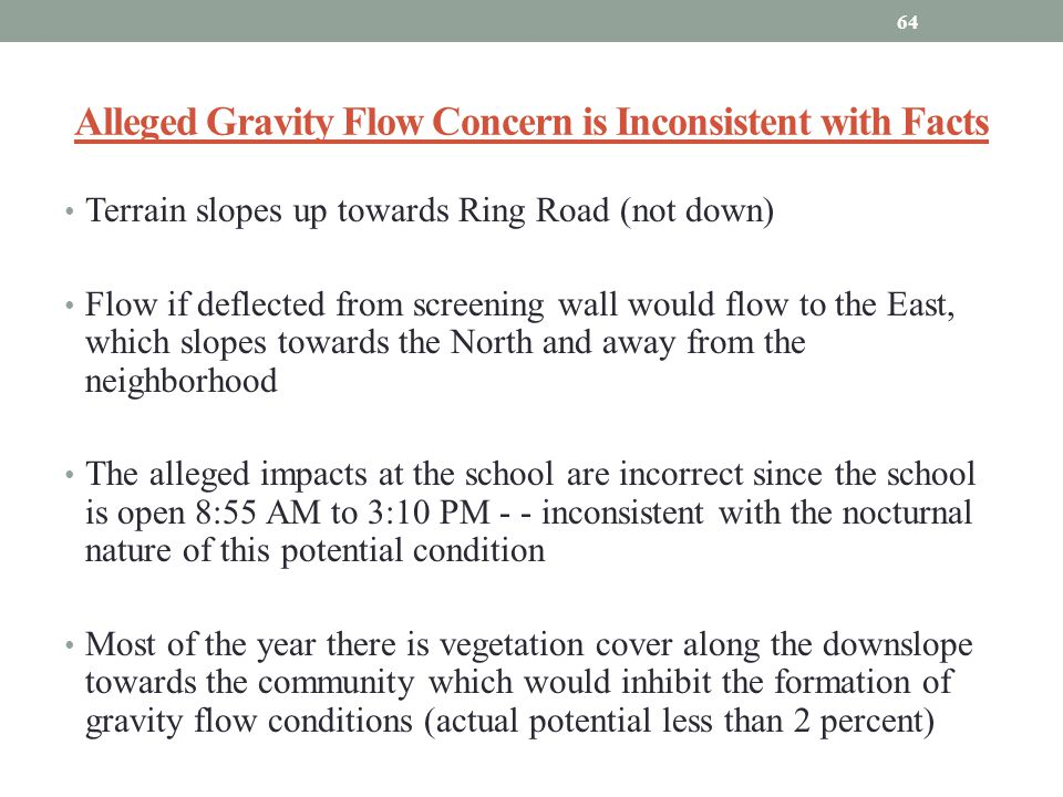 Alleged Gravity Flow Concern is Inconsistent with Facts Terrain slopes up towards Ring Road (not down) Flow if deflected from screening wall would flo