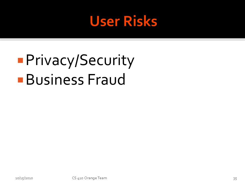 Privacy/Security Business Fraud 10/15/2010CS 410 Orange Team35