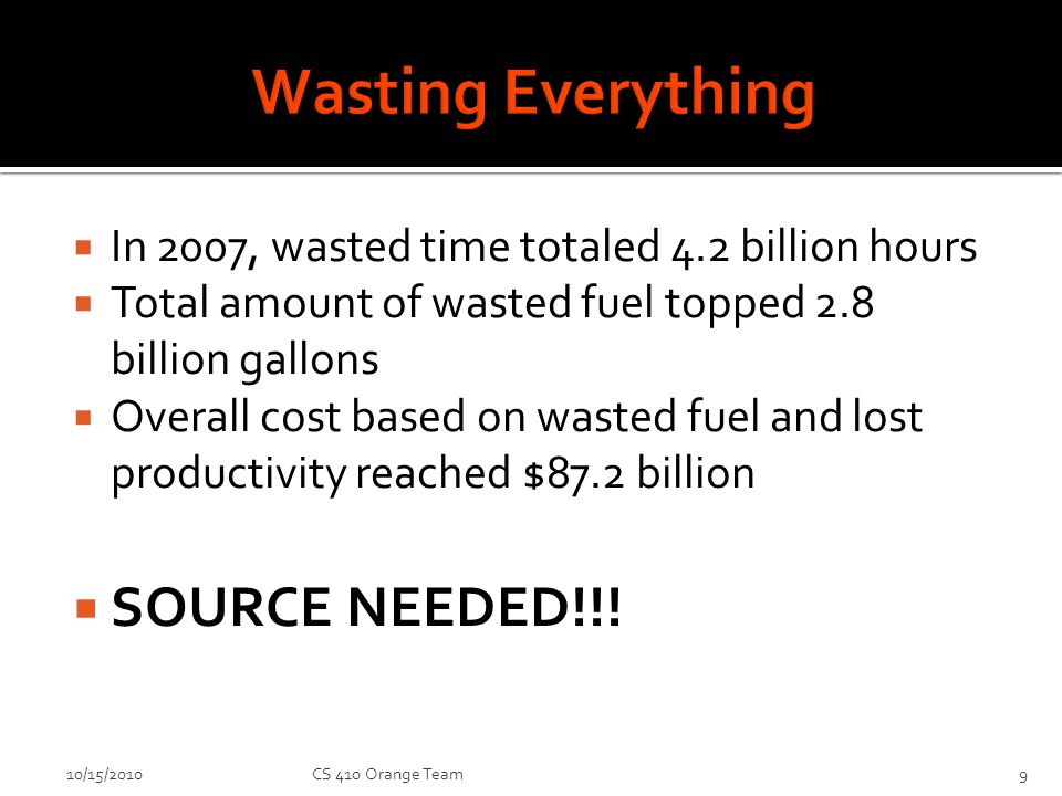 In 2007, wasted time totaled 4.2 billion hours Total amount of wasted fuel topped 2.8 billion gallons Overall cost based on wasted fuel and lost productivity reached $87.2 billion SOURCE NEEDED!!.