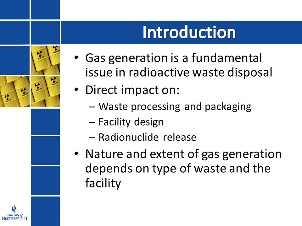Gas Generation Release of Radioactive Gases Groundwater Impacts Engineering Impacts Methylated Gases 14 C & 3 H labelled Gases