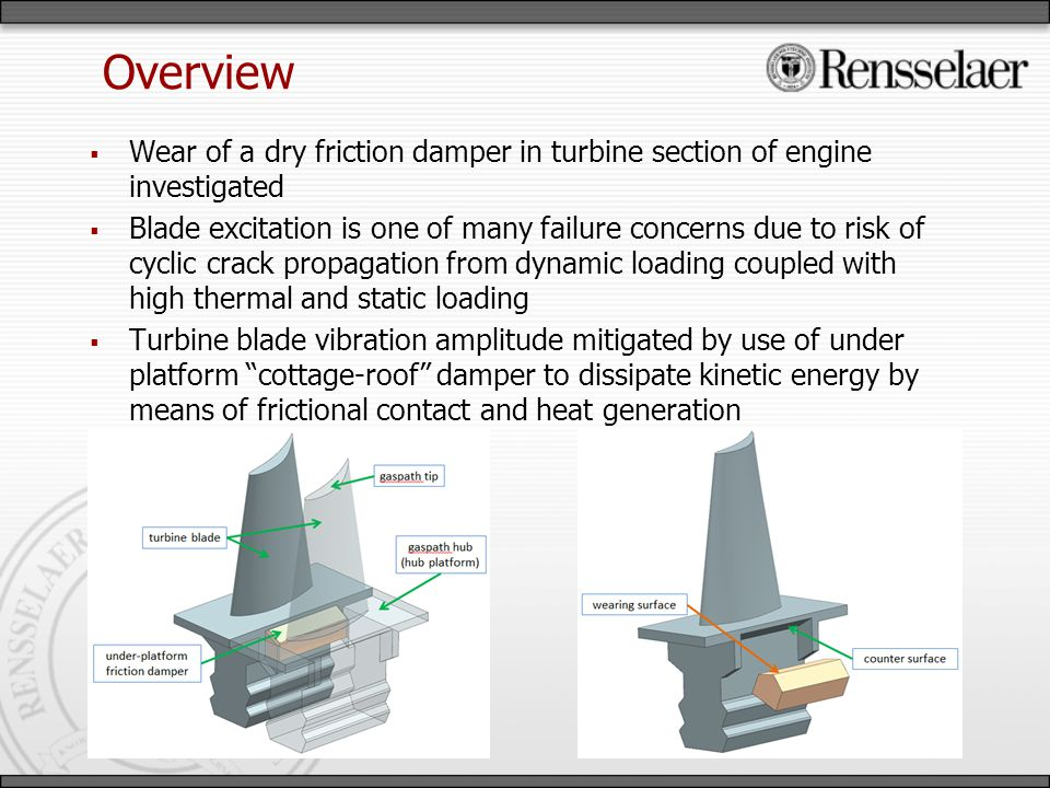 Overview Wear of a dry friction damper in turbine section of engine investigated Blade excitation is one of many failure concerns due to risk of cyclic crack propagation from dynamic loading coupled with high thermal and static loading Turbine blade vibration amplitude mitigated by use of under platform cottage-roof damper to dissipate kinetic energy by means of frictional contact and heat generation