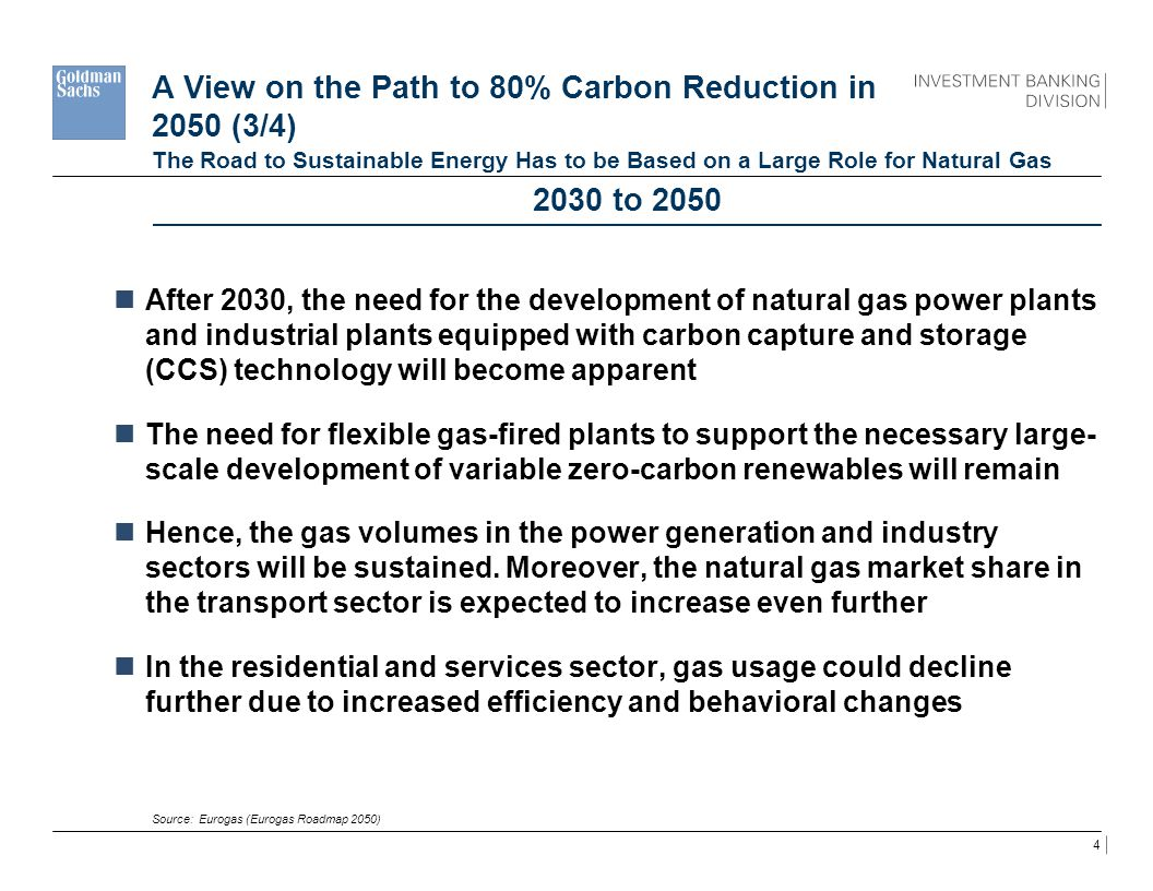 4 A View on the Path to 80% Carbon Reduction in 2050 (3/4) The Road to Sustainable Energy Has to be Based on a Large Role for Natural Gas 2030 to 2050