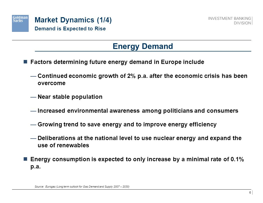 7 Market Dynamics (2/4) Improvements in Energy Efficiency Source: Eurogas (Long term outlook for Gas Demand and Supply 2007 – 2030) 1 2007 – 2030.