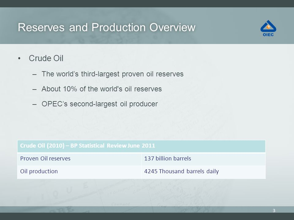 Reserves and Production OverviewReserves and Production Overview Crude Oil –The worlds third-largest proven oil reserves –About 10% of the world s oil reserves –OPECs second-largest oil producer 3 Crude Oil (2010) – BP Statistical Review June 2011 137 billion barrelsProven Oil reserves 4245 Thousand barrels dailyOil production