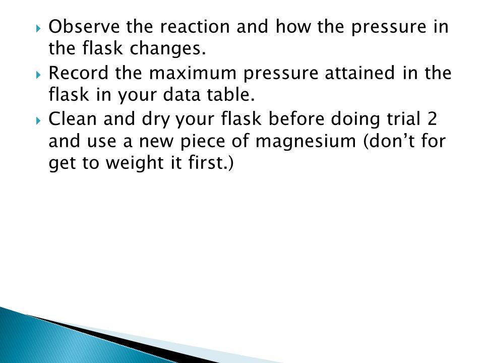 Trial 1Trial 2 Mass Mg (g) Volume of flask (mL) Initial Pressure (kPa) Maximum Pressure (kPa) Change in pressure (maximum – initial) Temperature (Kelvin)