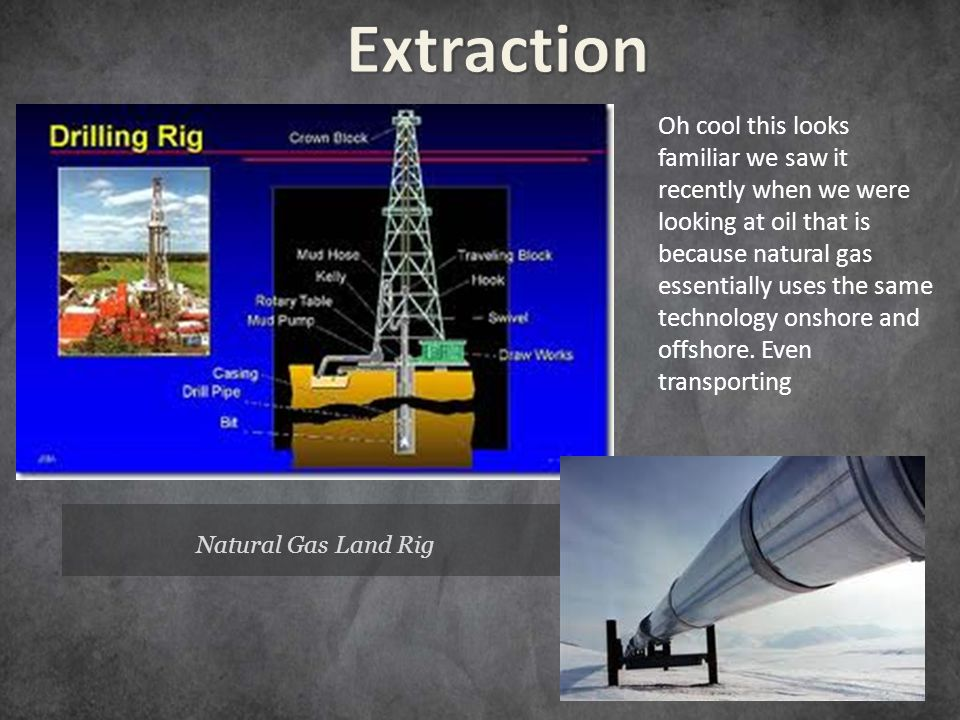 Natural Gas Land Rig Oh cool this looks familiar we saw it recently when we were looking at oil that is because natural gas essentially uses the same technology onshore and offshore.