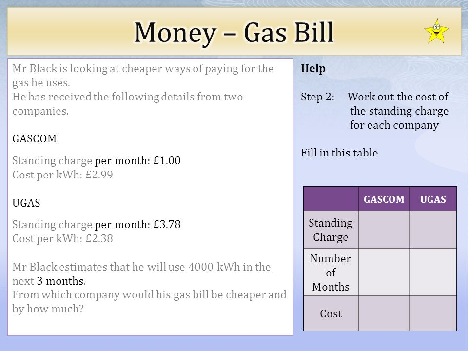Help Step 2: Work out the cost of the standing charge for each company Fill in this table Mr Black is looking at cheaper ways of paying for the gas he uses.