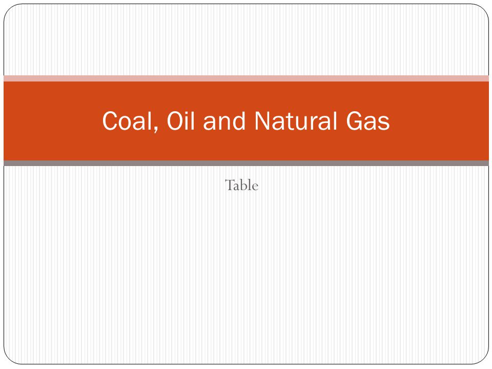 Table Coal, Oil and Natural Gas