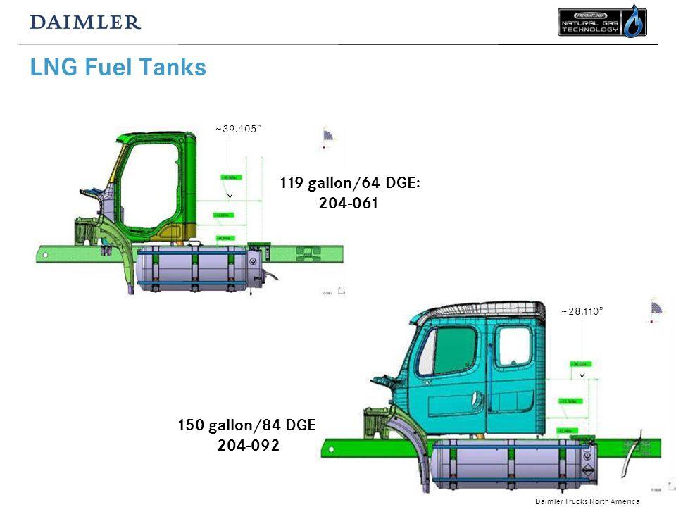 Daimler Trucks North America LNG Fuel Tanks 150 gallon/84 DGE: 204-092 119 gallon/64 DGE: 204-061 ~39.405 ~28.110