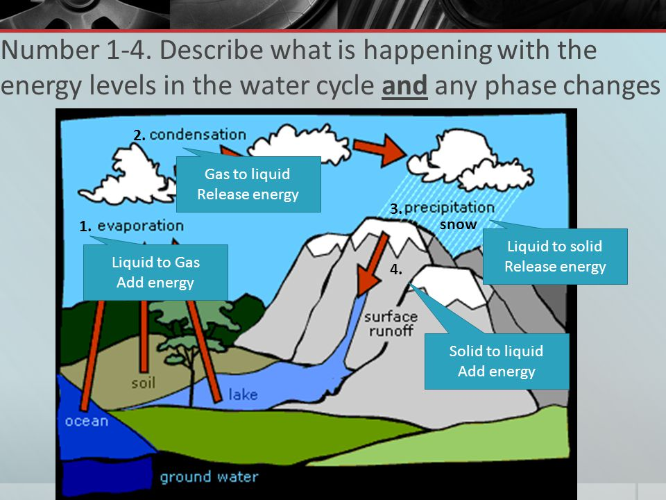 Number 1-4. Describe what is happening with the energy levels in the water cycle and any phase changes snow 1. 2. 3. 4. Liquid to Gas Add energy Gas t