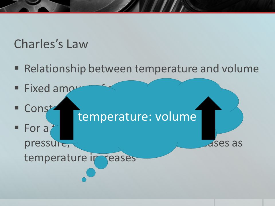 Charless Law Relationship between temperature and volume Fixed amount of gas Constant pressure For a fixed amount of gas at a constant pressure, the v