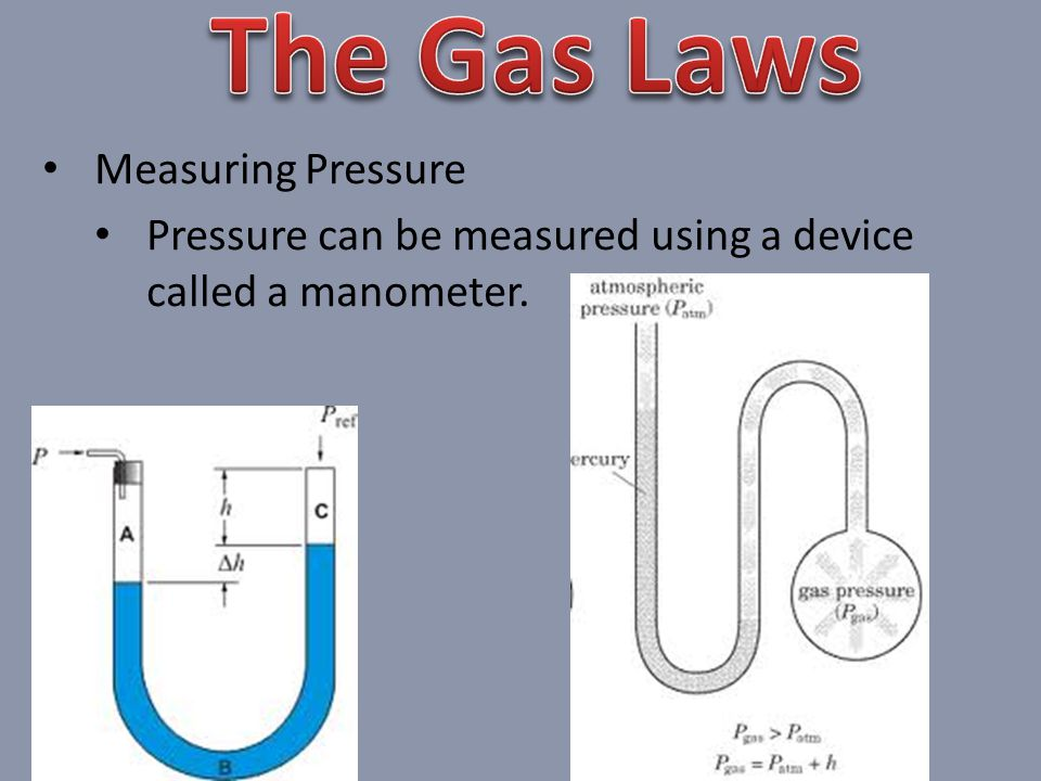 Measuring Pressure Pressure can be measured using a device called a manometer.