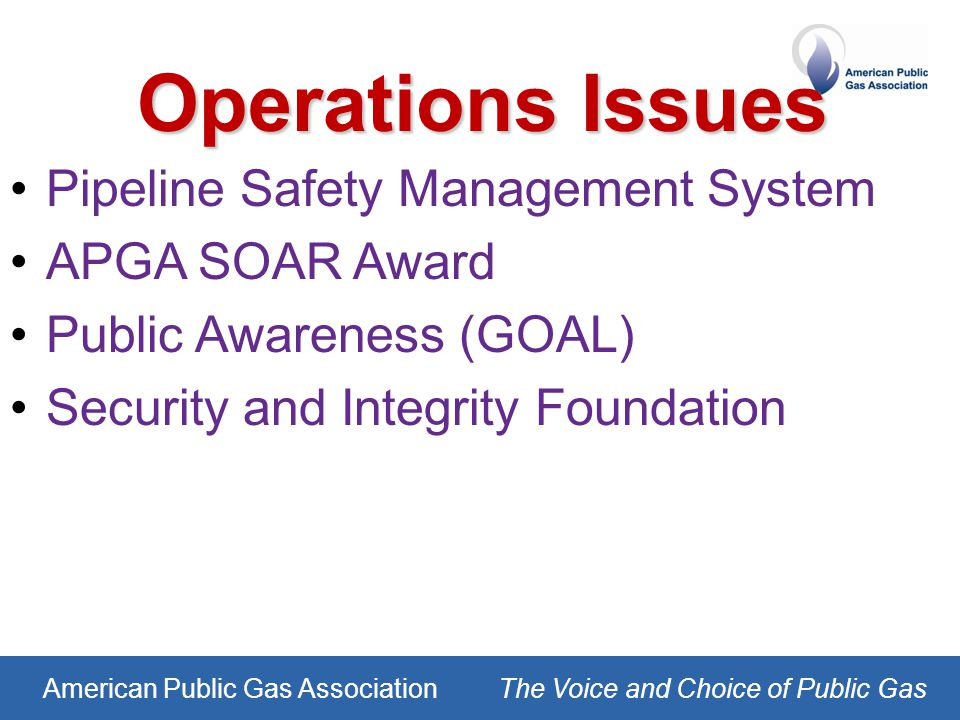 American Public Gas AssociationThe Voice and Choice of Public Gas Operations Issues Pipeline Safety Management System APGA SOAR Award Public Awareness (GOAL) Security and Integrity Foundation