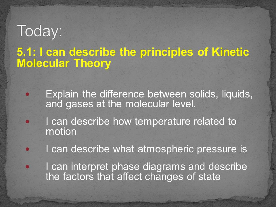 Learning Targets: 5.1 I can describe the principles of Kinetic Molecular Theory I can describe what atmospheric pressure is I can describe how temperature related to motion Explain the difference between solids, liquids, and gases at the molecular level.