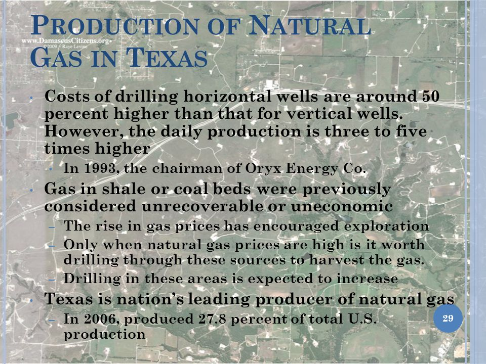 P RODUCTION OF N ATURAL G AS IN T EXAS Costs of drilling horizontal wells are around 50 percent higher than that for vertical wells.