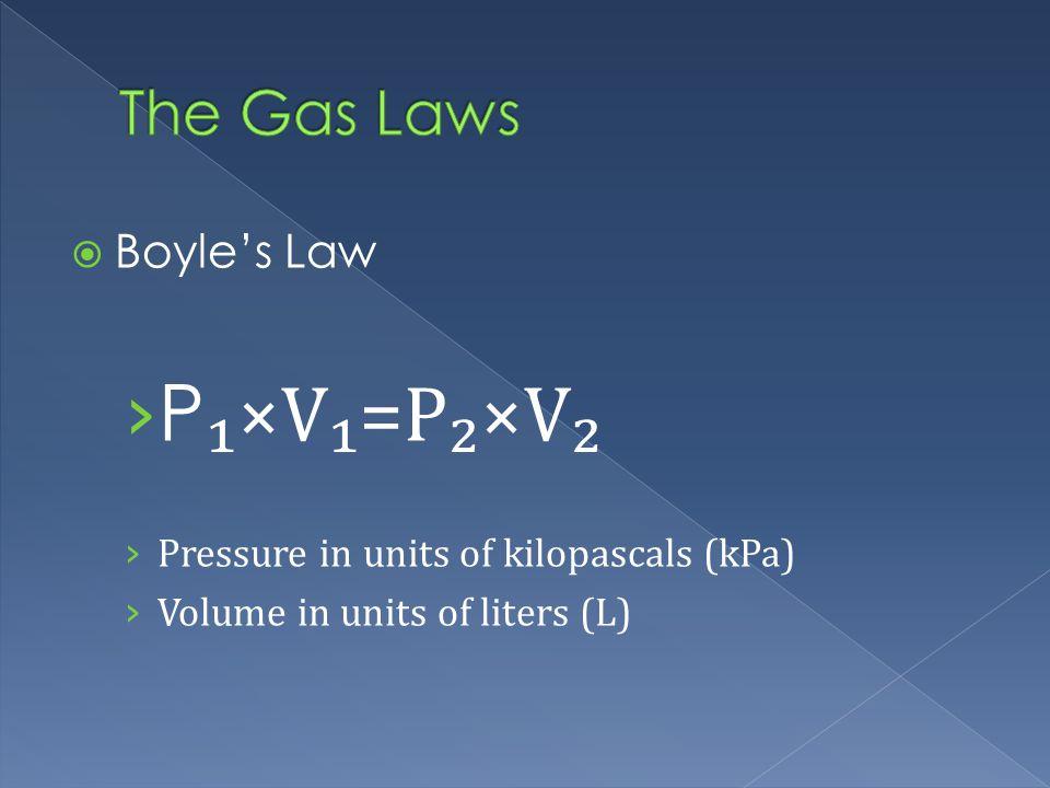 Boyles Law P ×V=P×V Pressure in units of kilopascals (kPa) Volume in units of liters (L)