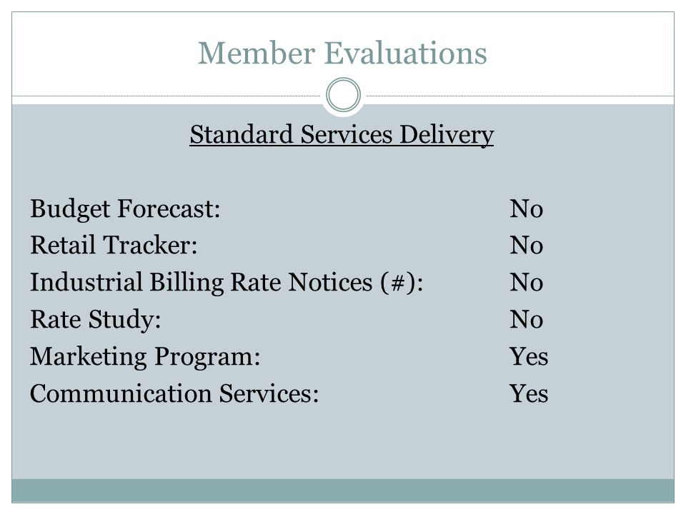 Member Evaluations Standard Services Delivery Budget Forecast:No Retail Tracker:No Industrial Billing Rate Notices (#):No Rate Study:No Marketing Program:Yes Communication Services:Yes