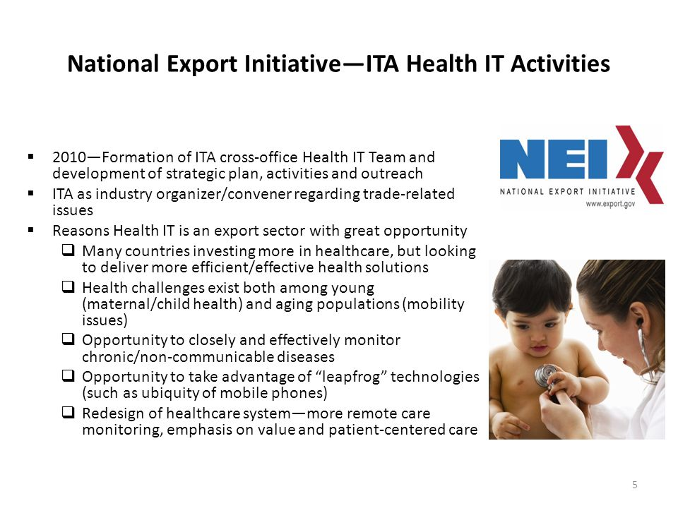 National Export InitiativeITA Health IT Activities 2010Formation of ITA cross-office Health IT Team and development of strategic plan, activities and outreach ITA as industry organizer/convener regarding trade-related issues Reasons Health IT is an export sector with great opportunity Many countries investing more in healthcare, but looking to deliver more efficient/effective health solutions Health challenges exist both among young (maternal/child health) and aging populations (mobility issues) Opportunity to closely and effectively monitor chronic/non-communicable diseases Opportunity to take advantage of leapfrog technologies (such as ubiquity of mobile phones) Redesign of healthcare systemmore remote care monitoring, emphasis on value and patient-centered care 5