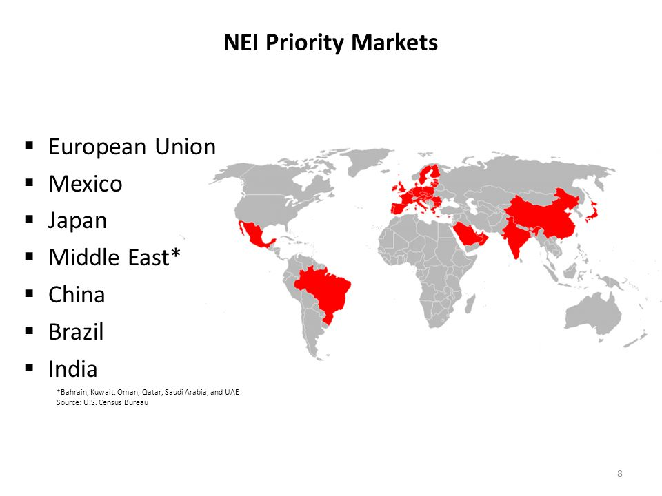 NEI Priority Markets *Bahrain, Kuwait, Oman, Qatar, Saudi Arabia, and UAE Source: U.S. Census Bureau European Union Mexico Japan Middle East* China Br