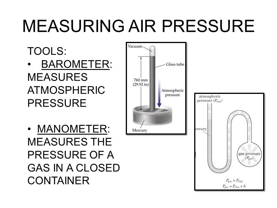 MEASURING AIR PRESSURE TOOLS: BAROMETER: MEASURES ATMOSPHERIC PRESSURE MANOMETER: MEASURES THE PRESSURE OF A GAS IN A CLOSED CONTAINER