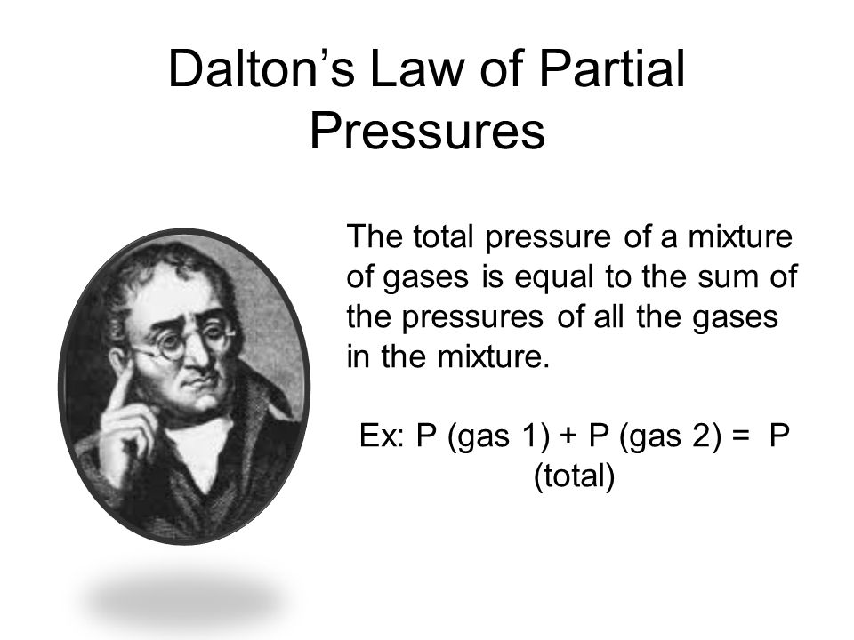 Daltons Law of Partial Pressures The total pressure of a mixture of gases is equal to the sum of the pressures of all the gases in the mixture. Ex: P