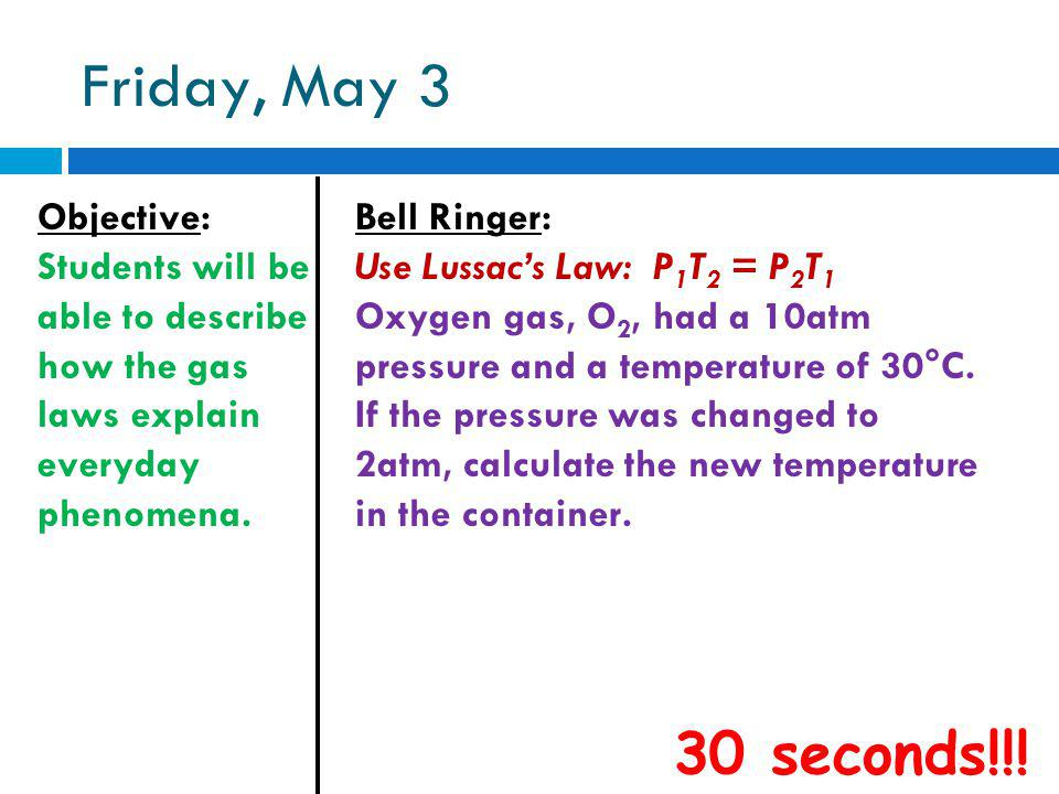 Friday, May 3 Objective: Students will be able to describe how the gas laws explain everyday phenomena. Bell Ringer: Use Lussacs Law: P 1 T 2 = P 2 T