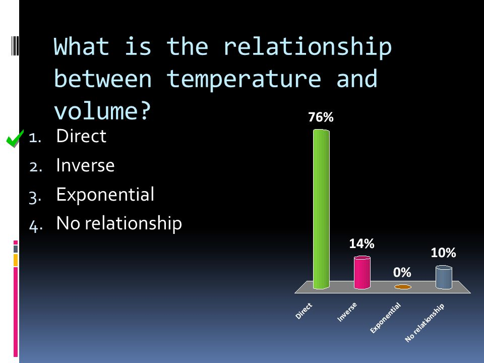 What is the relationship between temperature and volume? 1. Direct 2. Inverse 3. Exponential 4. No relationship