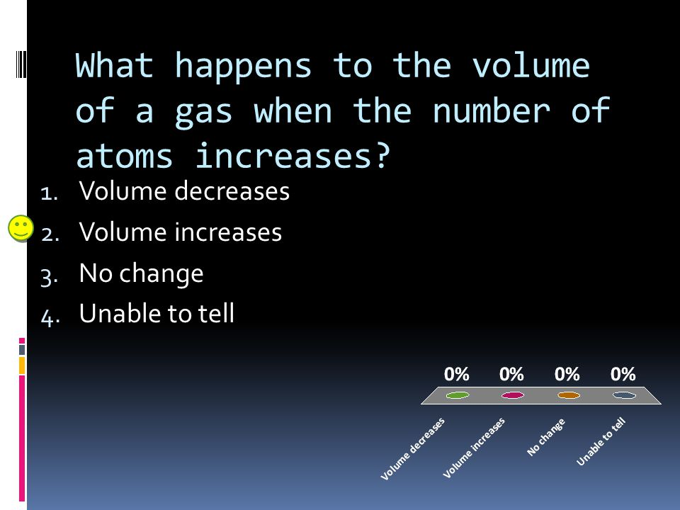 What happens to the volume of a gas when the number of atoms increases? 1. Volume decreases 2. Volume increases 3. No change 4. Unable to tell