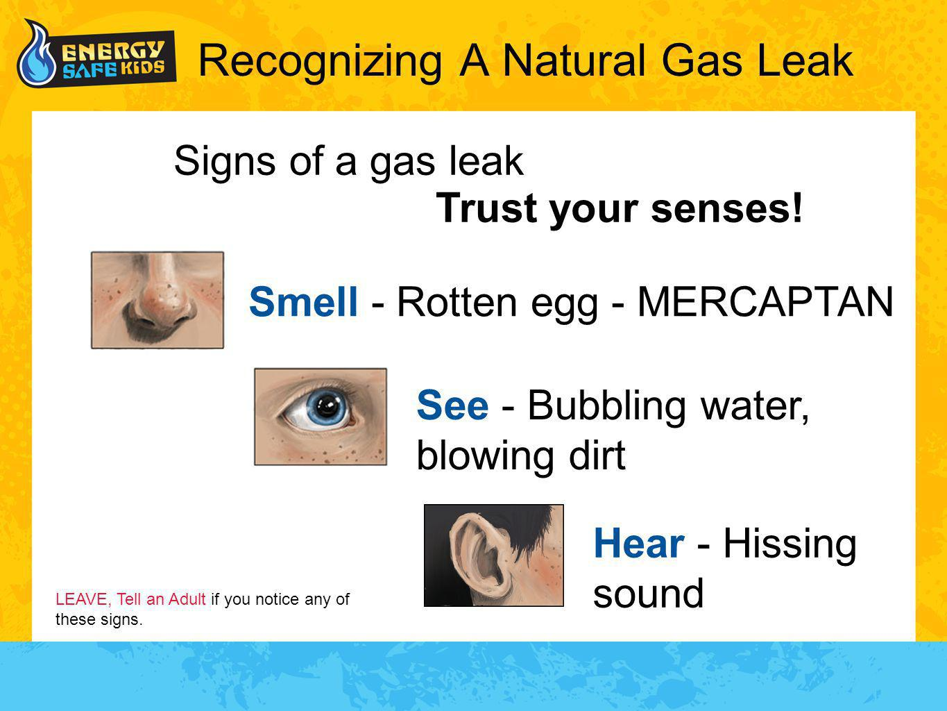 Recognizing A Natural Gas Leak Signs of a gas leak Trust your senses! LEAVE, Tell an Adult if you notice any of these signs. Smell - Rotten egg - MERC