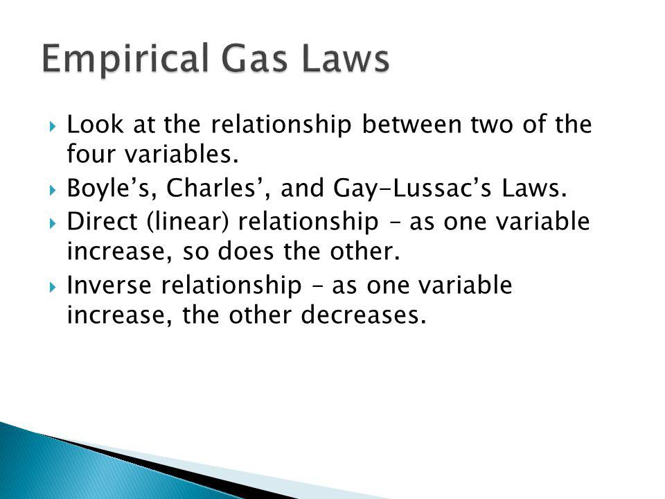 Look at the relationship between two of the four variables. Boyles, Charles, and Gay-Lussacs Laws. Direct (linear) relationship – as one variable incr