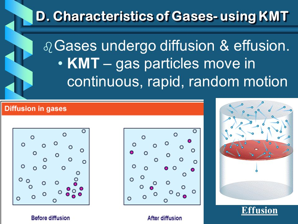 b Gases undergo diffusion & effusion. KMT – gas particles move in continuous, rapid, random motion D. Characteristics of Gases- using KMT Effusion