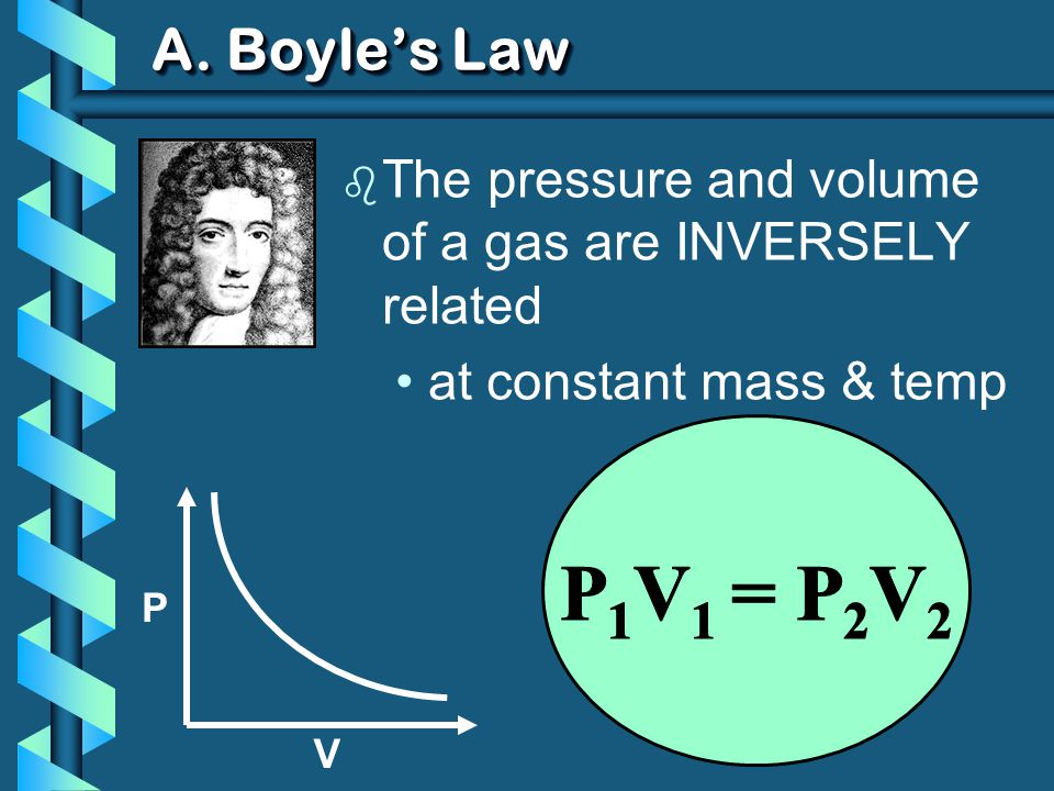 A. Boyles Law b The pressure and volume of a gas are INVERSELY related at constant mass & temp P V