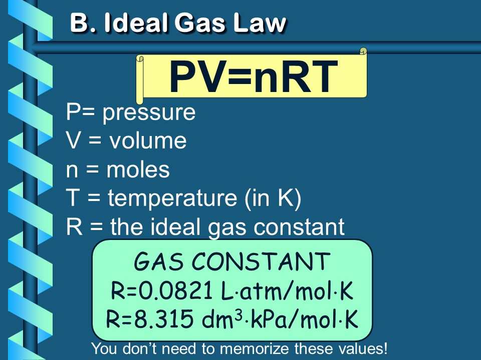 B. Ideal Gas Law GAS CONSTANT R=0.0821 L atm/mol K R=8.315 dm 3 kPa/mol K PV=nRT You dont need to memorize these values! P= pressure V = volume n = mo
