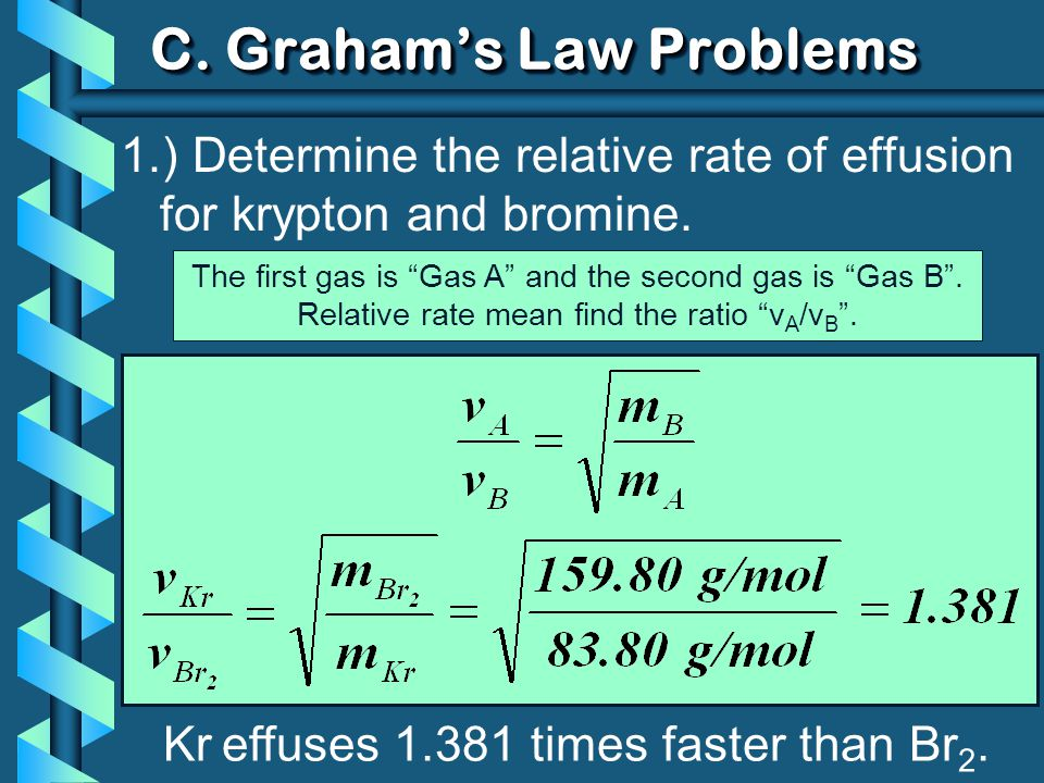 1.) Determine the relative rate of effusion for krypton and bromine. Kr effuses 1.381 times faster than Br 2. C. Grahams Law Problems The first gas is