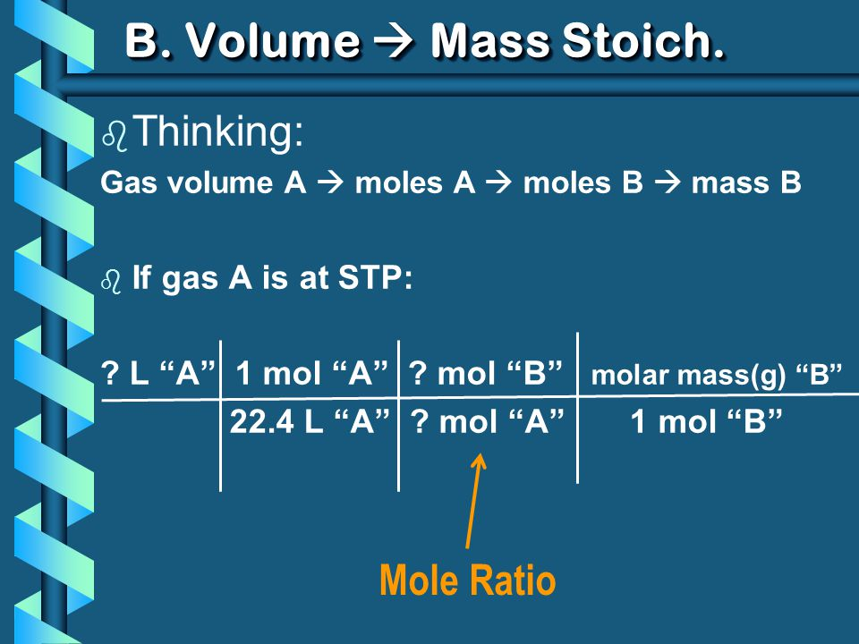 B. Volume Mass Stoich. b Thinking: Gas volume A moles A moles B mass B b If gas A is at STP: ? L A 1 mol A ? mol B molar mass(g) B 22.4 L A ? mol A 1