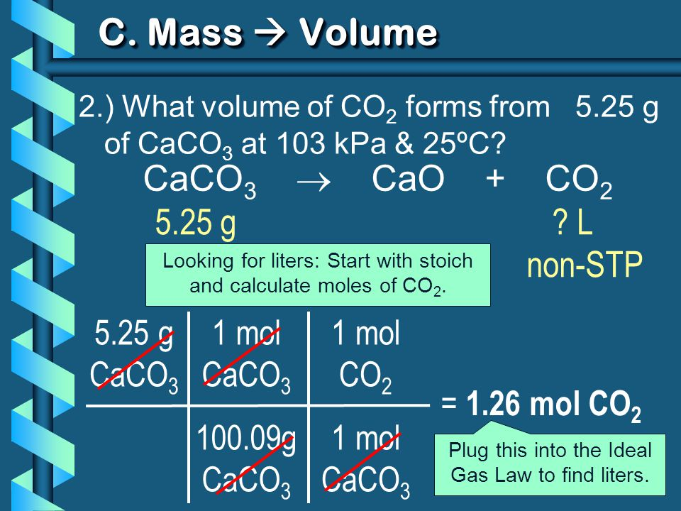 1 mol CaCO 3 100.09g CaCO 3 C. Mass Volume 2.) What volume of CO 2 forms from 5.25 g of CaCO 3 at 103 kPa & 25ºC? 5.25 g CaCO 3 = 1.26 mol CO 2 CaCO 3