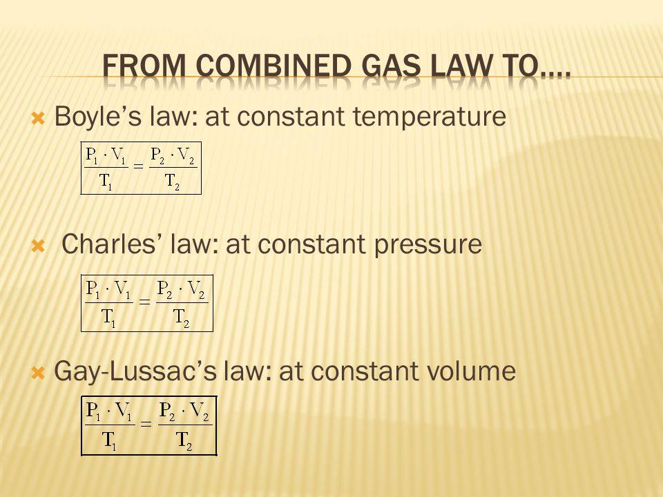 Boyles law: at constant temperature Charles law: at constant pressure Gay-Lussacs law: at constant volume