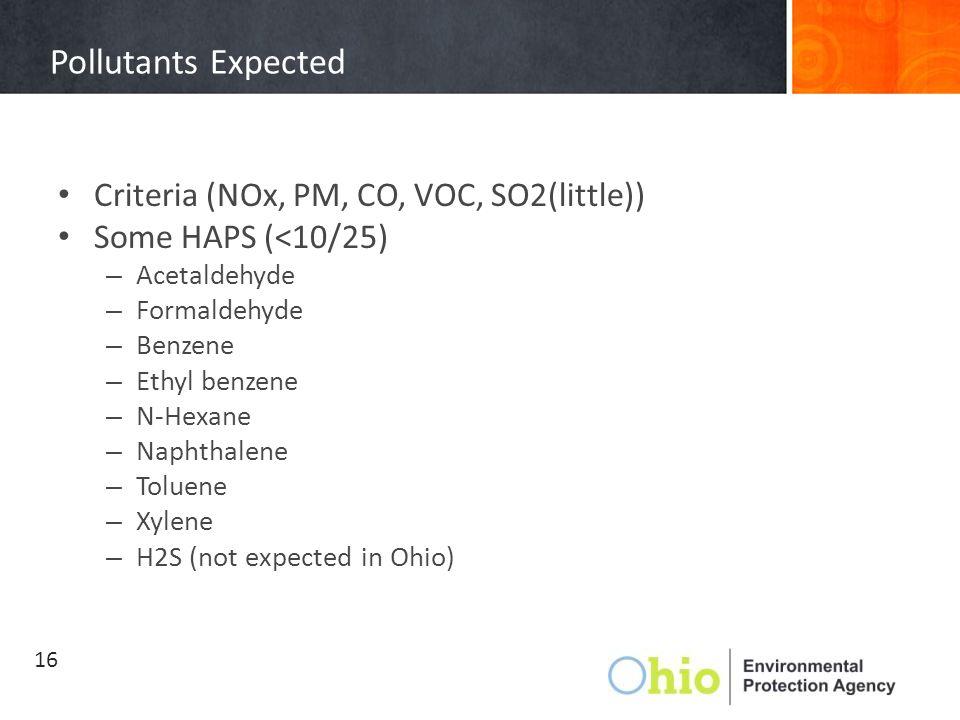 Pollutants Expected Criteria (NOx, PM, CO, VOC, SO2(little)) Some HAPS (<10/25) – Acetaldehyde – Formaldehyde – Benzene – Ethyl benzene – N-Hexane – Naphthalene – Toluene – Xylene – H2S (not expected in Ohio) 16