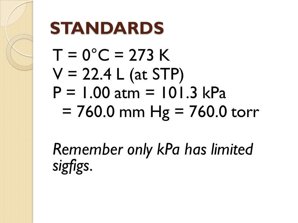 STANDARDS T = 0°C = 273 K V = 22.4 L (at STP) P = 1.00 atm = 101.3 kPa = 760.0 mm Hg = 760.0 torr Remember only kPa has limited sigfigs.