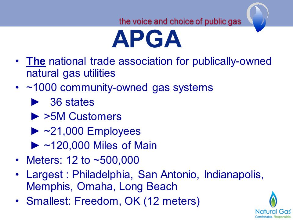 APGA The national trade association for publically-owned natural gas utilities ~1000 community-owned gas systems 36 states >5M Customers ~21,000 Emplo