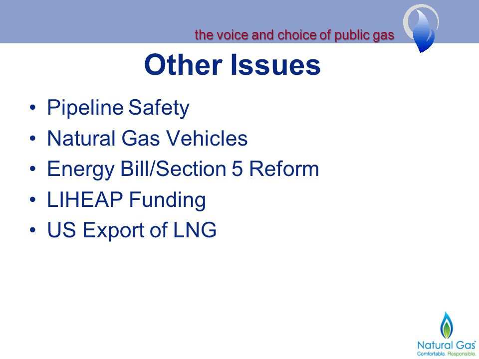 the voice and choice of public gas Other Issues Pipeline Safety Natural Gas Vehicles Energy Bill/Section 5 Reform LIHEAP Funding US Export of LNG