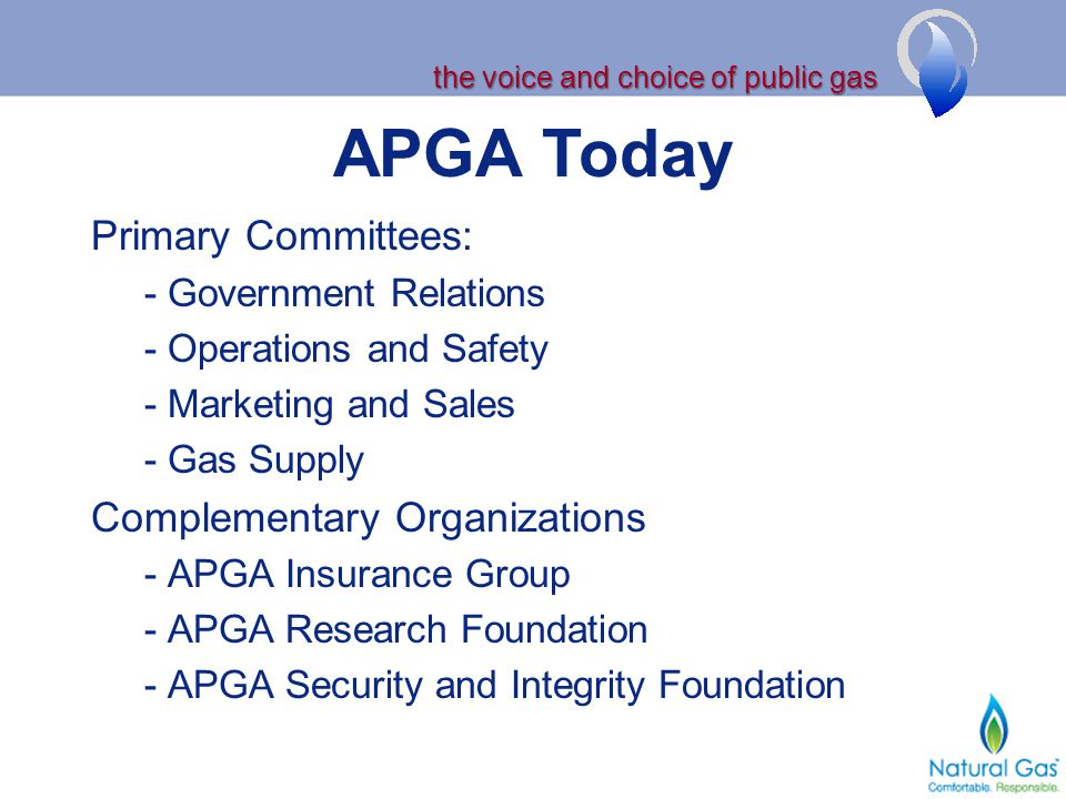 the voice and choice of public gas APGA Today Primary Committees: - Government Relations - Operations and Safety - Marketing and Sales - Gas Supply Co