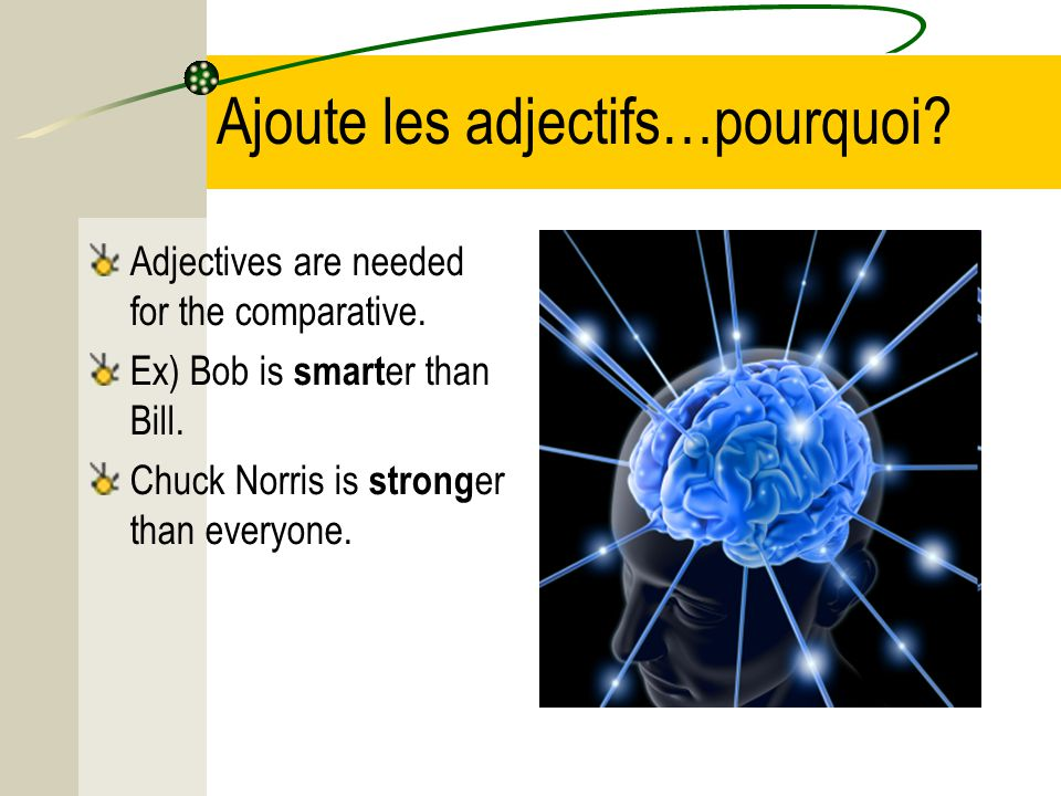 There is no way to say –ER in French though.Bob est PLUS intelligent QUE Bill.