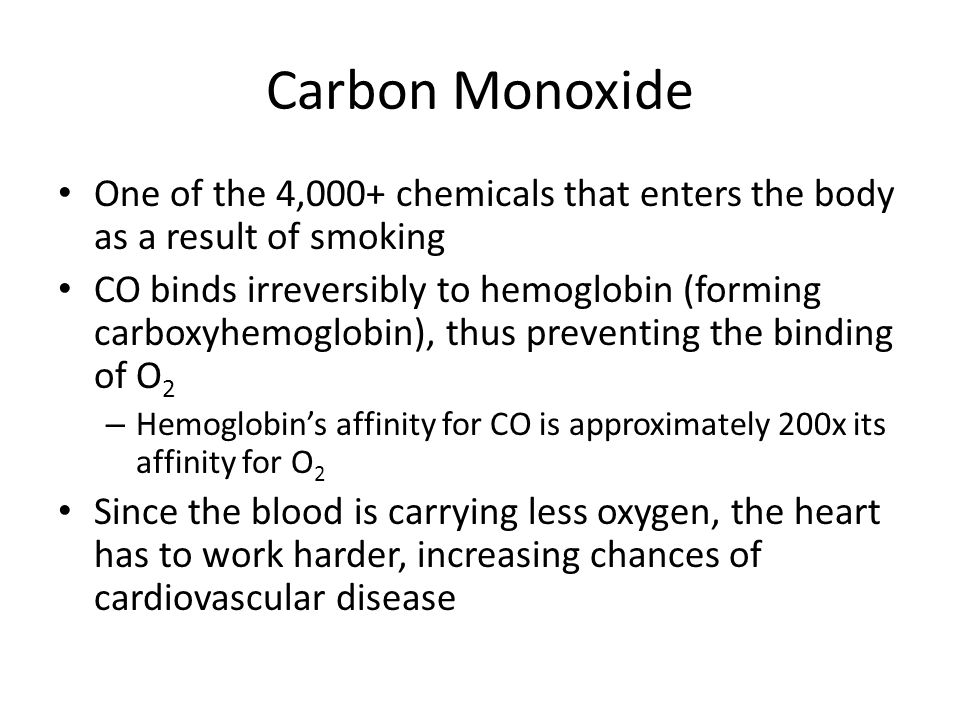 Carbon Monoxide One of the 4,000+ chemicals that enters the body as a result of smoking CO binds irreversibly to hemoglobin (forming carboxyhemoglobin