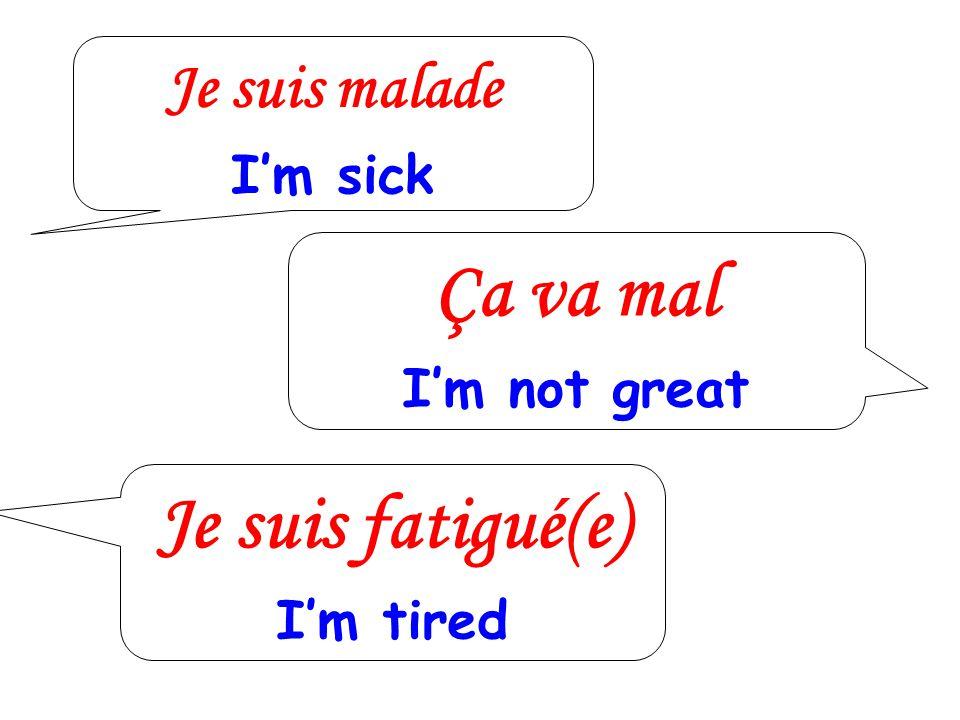 Je suis malade Im sick Ça va mal Im not great Je suis fatigué(e) Im tired